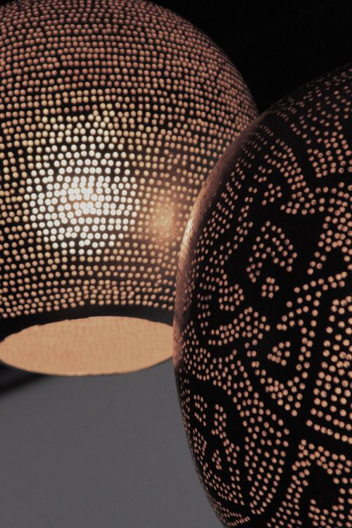 Perforated Metal Pendant Light Bathroom Detail