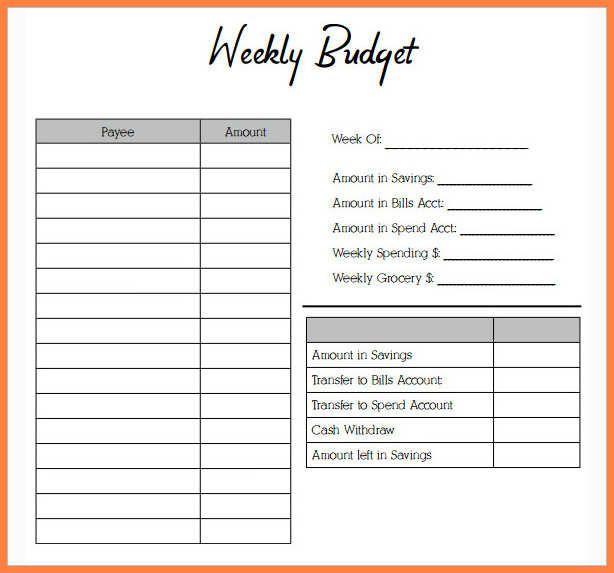 Weekly Budget Worksheet Free