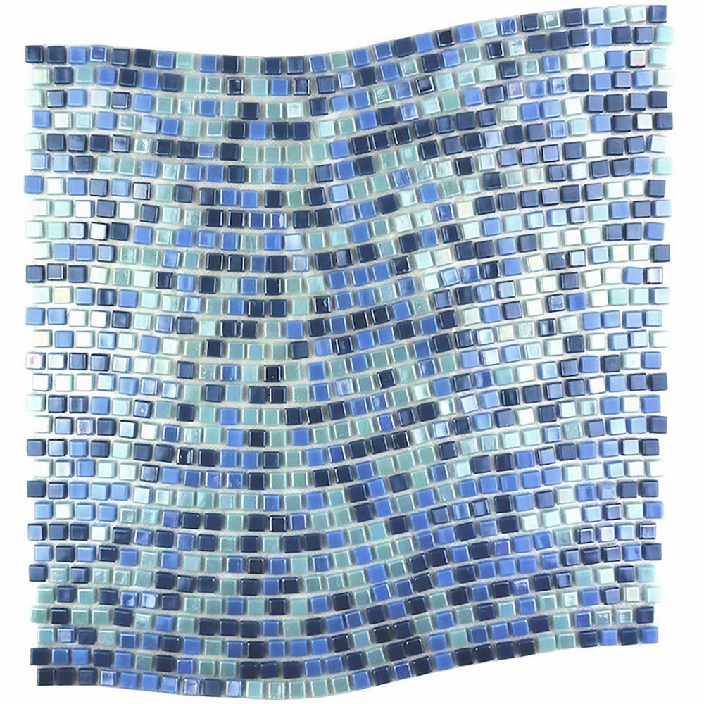 Abolos Galaxy Uranus Blue Wavy Square Mosaic 0 3125 In X 0 3125 In Iridescent Glass Wall Tile 1 Sq Ft Hmdgalwavy Ur The Home Depot Glass Mosaic Tiles Mosaic Glass Glass Mosaic Backsplash