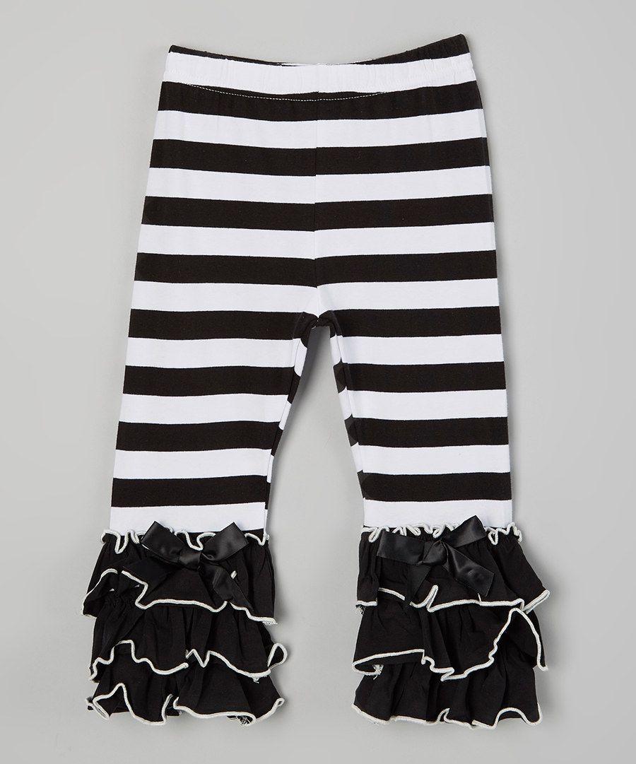 c59a084307526 Look at this One Posh Kid Black Stripe Ruffle Leggings - Toddler ...