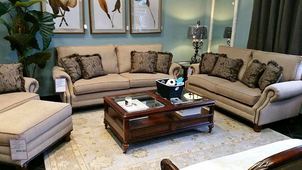 Cozy tan upholstery and plump cushions create a welcoming appearance to make family and friends feel right at home when seated in this American made living room set! | Houston TX | N Gallery Furniture |