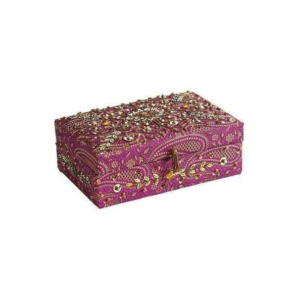 Pier One Embroidered Purple Jewelry Box 20 liked on Polyvore