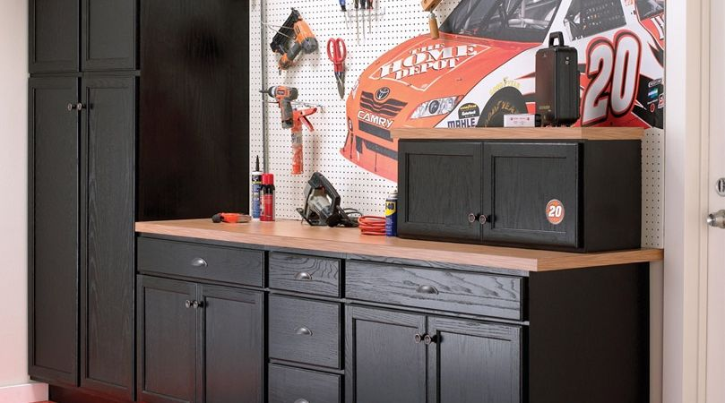 American Classics Unfinished Oak Cabinets Used In A Garage Setting