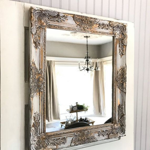 Shabby Chic Wall Mirror Bathroom White Gold Distressed Vanity French Country Ornate Custom