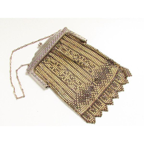Vintage Art Deco Whiting Davis Enameled Mesh Purse 1920s Cream Black (€115) ❤ liked on Polyvore featuring bags, art deco bag, cream bag, fringe bag, vintage bags and mesh bag