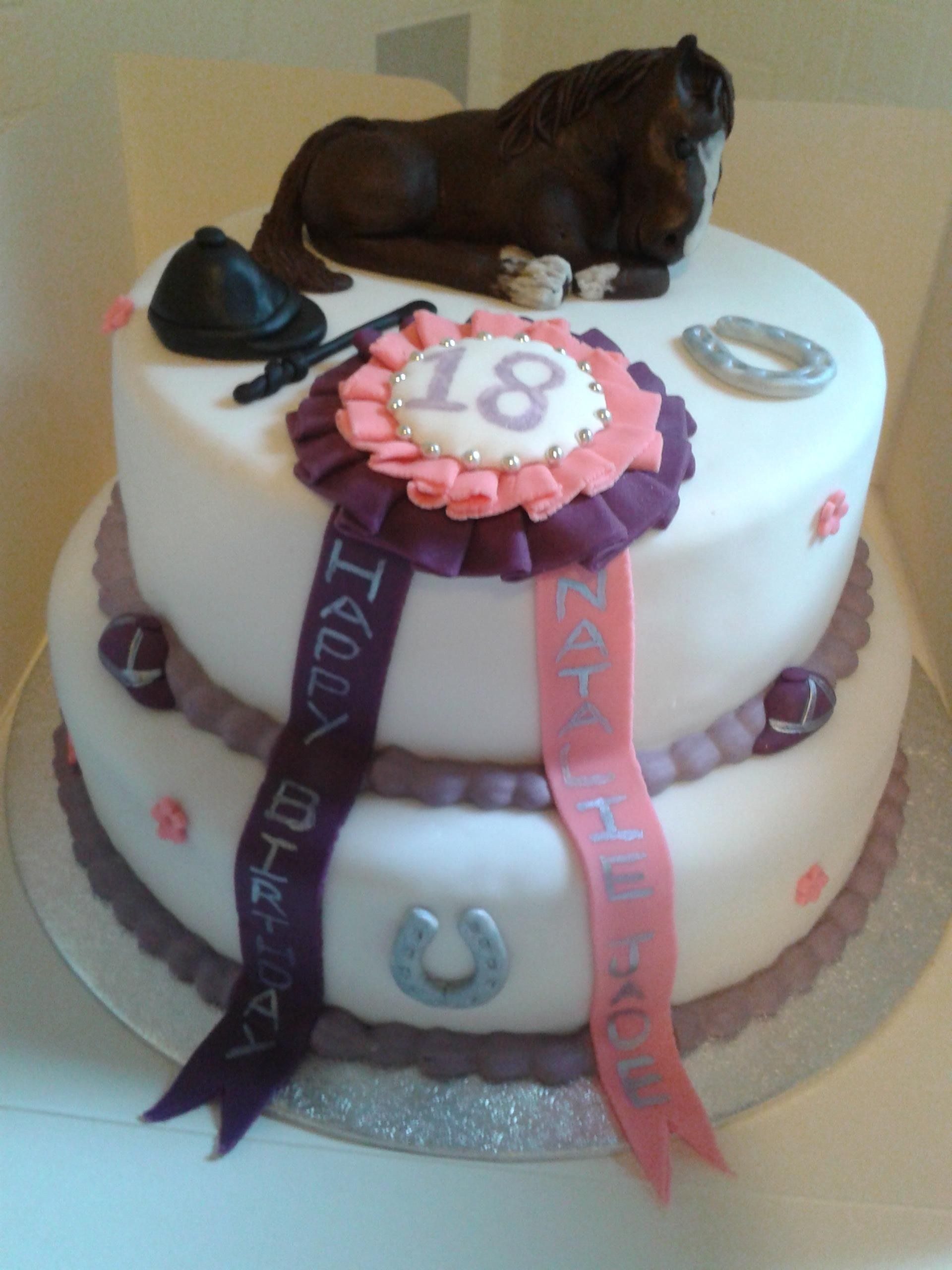 18th Birthday cake with horse and rosette By fat rascal cake co