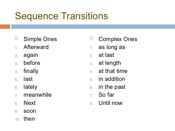 Image Result For Types Of Transition Words And Phrases