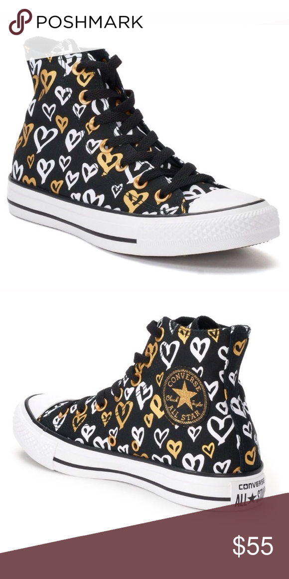 49ad0d9a5b36 NWT Converse All Star Heart High Top Sneakers NWT Rare Converse All Star  Heart Hight Top Sneakers Colors  Black   White   Gold Lace up Style Converse  Shoes ...