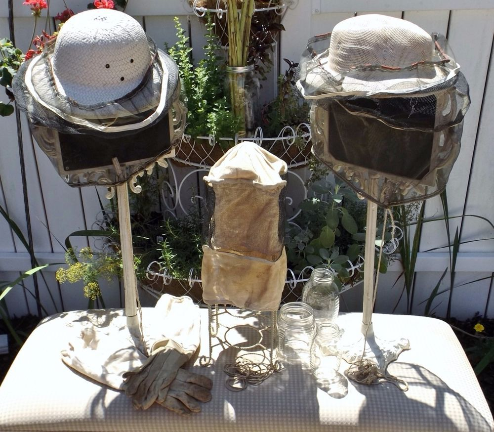 Vintage Bee Keepers Hats, Hood Veil, Gloves,& Honey Jars