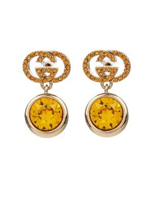 Crystal-embellished logo earrings | Gucci | MATCHESFASHION.COM AU