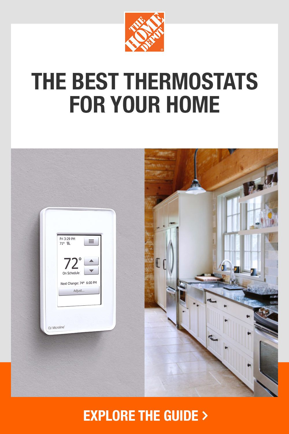 Choosing the right thermostat for your home just got easier with The Home Depot. Our thermostat buying guide is here to help you select the best thermostat for home use while also outlining the special features available that increase convenience, comfort and energy efficiency. From manual to smart thermostats, click The Home Depot to guide to explore all options.