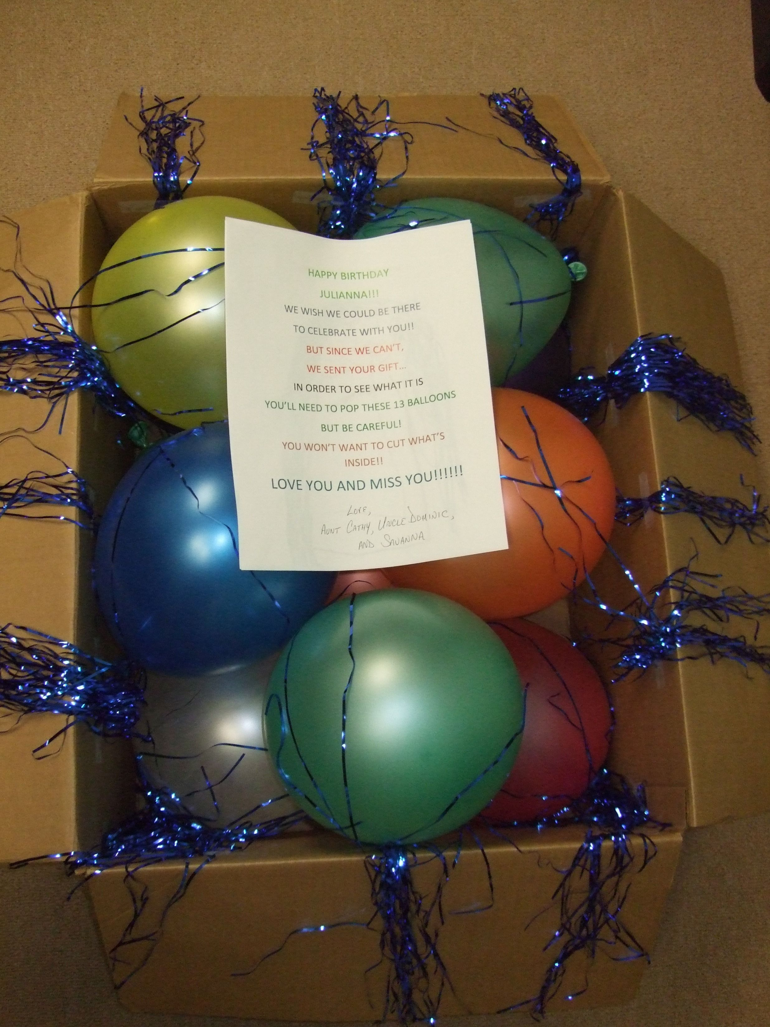 A Box Of 13 Balloons Sent To My Niece For Her 13th Birthday She Had Pop The Get Gift MONEY