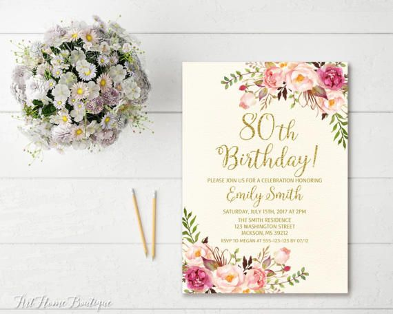 80th Birthday Invitation Any Age Women Floral Ivory And Gold Invitati
