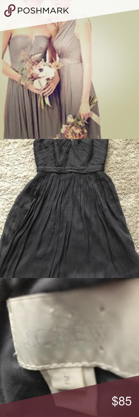 J. Crew strapless chiffon gray dress size 20   Cocktail length ...