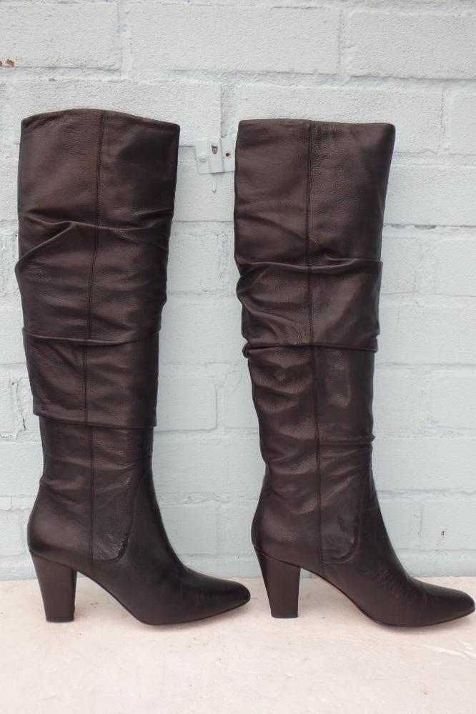 Hobbs ladies black high heel leather shoes size 4 (37)