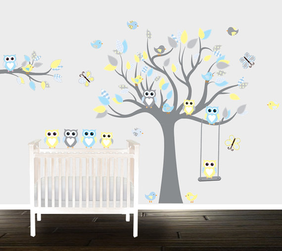 Boys Grey Yellow Owl Wall Decals Nursery Stickers Branch Birds Swing