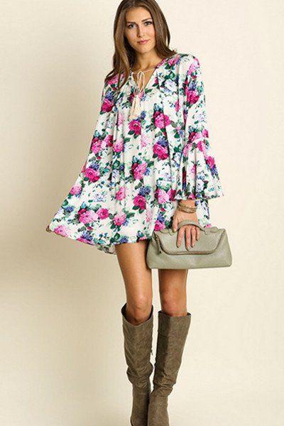 Rose Bell Sleeve Dress - ShopLuckyDuck  - 1