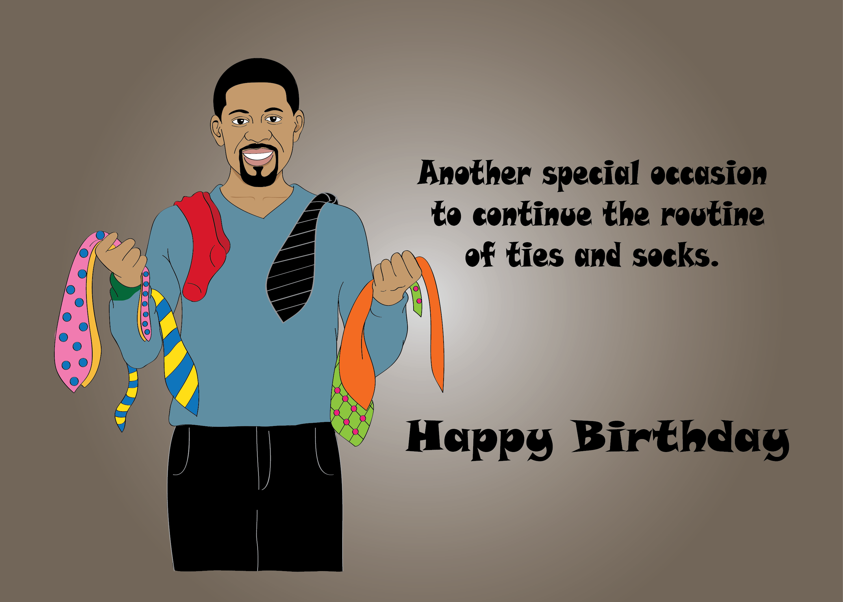 Birthday Card for Men handsome Black African American man with