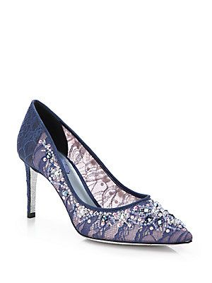 Rene Caovilla Beaded Crystal Lace Pumps