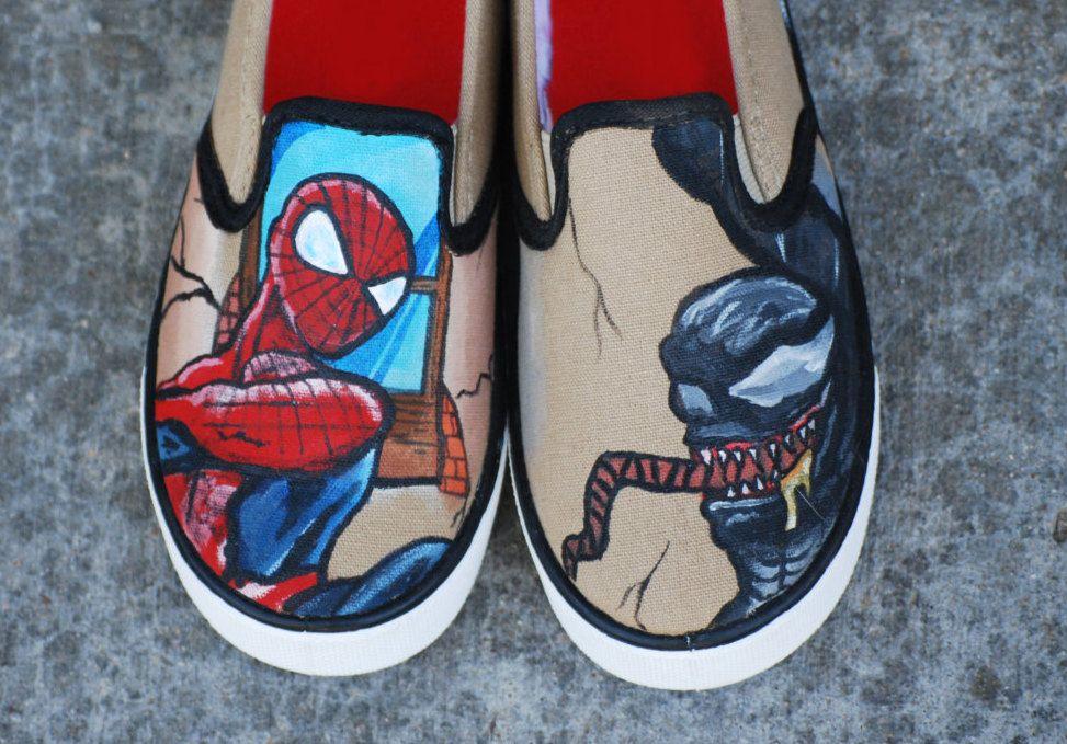 dd472f8fc499 SPIDERMAN   VENOM comic book custom hand painted boy shoes by krazykicks on  Etsy