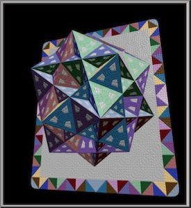 Hyperspace contemporary quilt art has a cool 3D quilt pattern