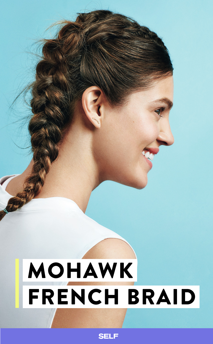 This mohawk french braid is perfect for the gym hairstylesmakeup