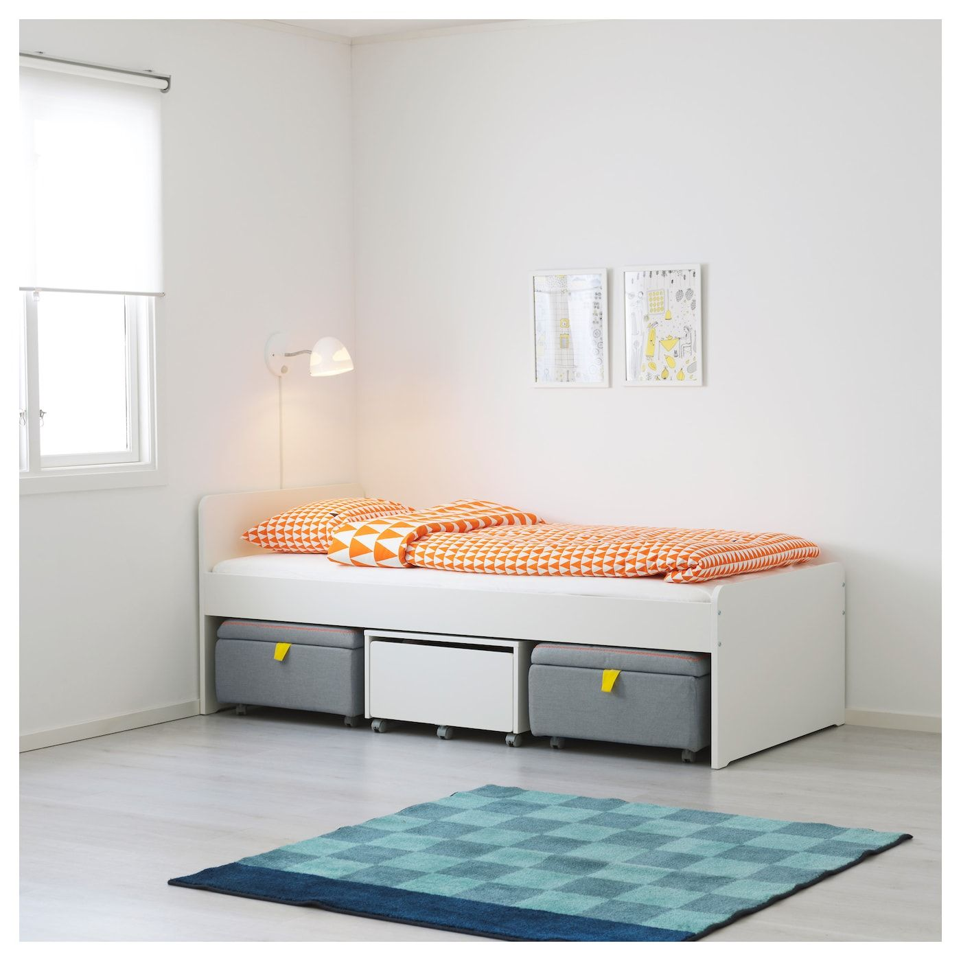 Slakt Bed Frame With Storage Seating White Gray Ikea Bed