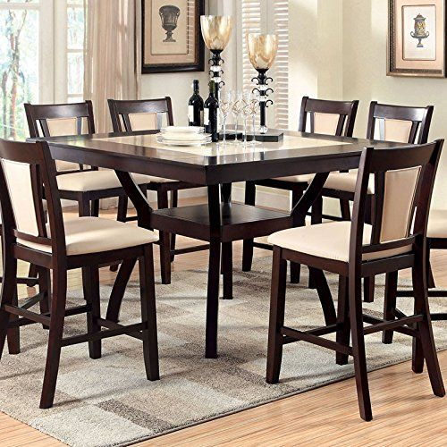 Brent Traditional Style Dark Cherry Finish 9Piece Counter Height Glamorous Traditional Dining Room Sets Cherry Inspiration