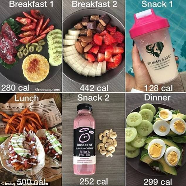 Fitness guru says eating MORE helped her slim down #partybudgeting Food diary: Nessa's posts have earned her more than 357,000 Instagram followers, an...#diary #earned #eating #fitness #followers #food #guru #helped #instagram #nessa #nessas #partybudgeting #posts #slim