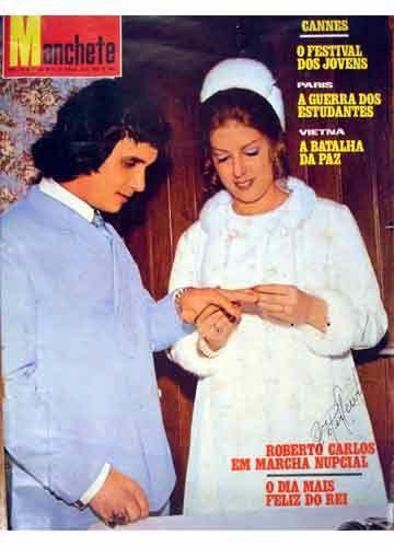 Casamento de Roberto Carlos e Cleonice Rossi em 10 de maio de 1974. Nice, em seu vestido de noiva, um Clodovil em crepe francês e adornado com vison, foi capa das principais revistas da época, sendo a cerimônia de casamento transmitida por rádio.  http://clodovilmemoriabrasil.blogspot.com.br/2011/11/clodovil-casamento-de-rei.html