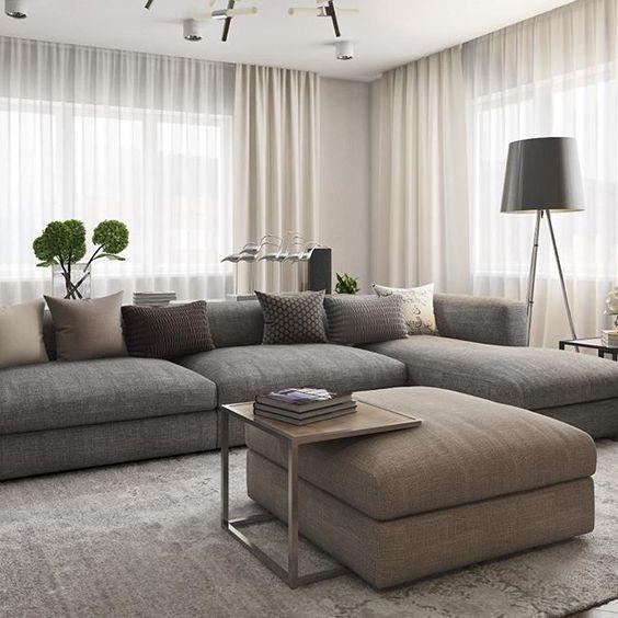 Divano e tende per soggiorno | Salotti eleganti, Idee ...