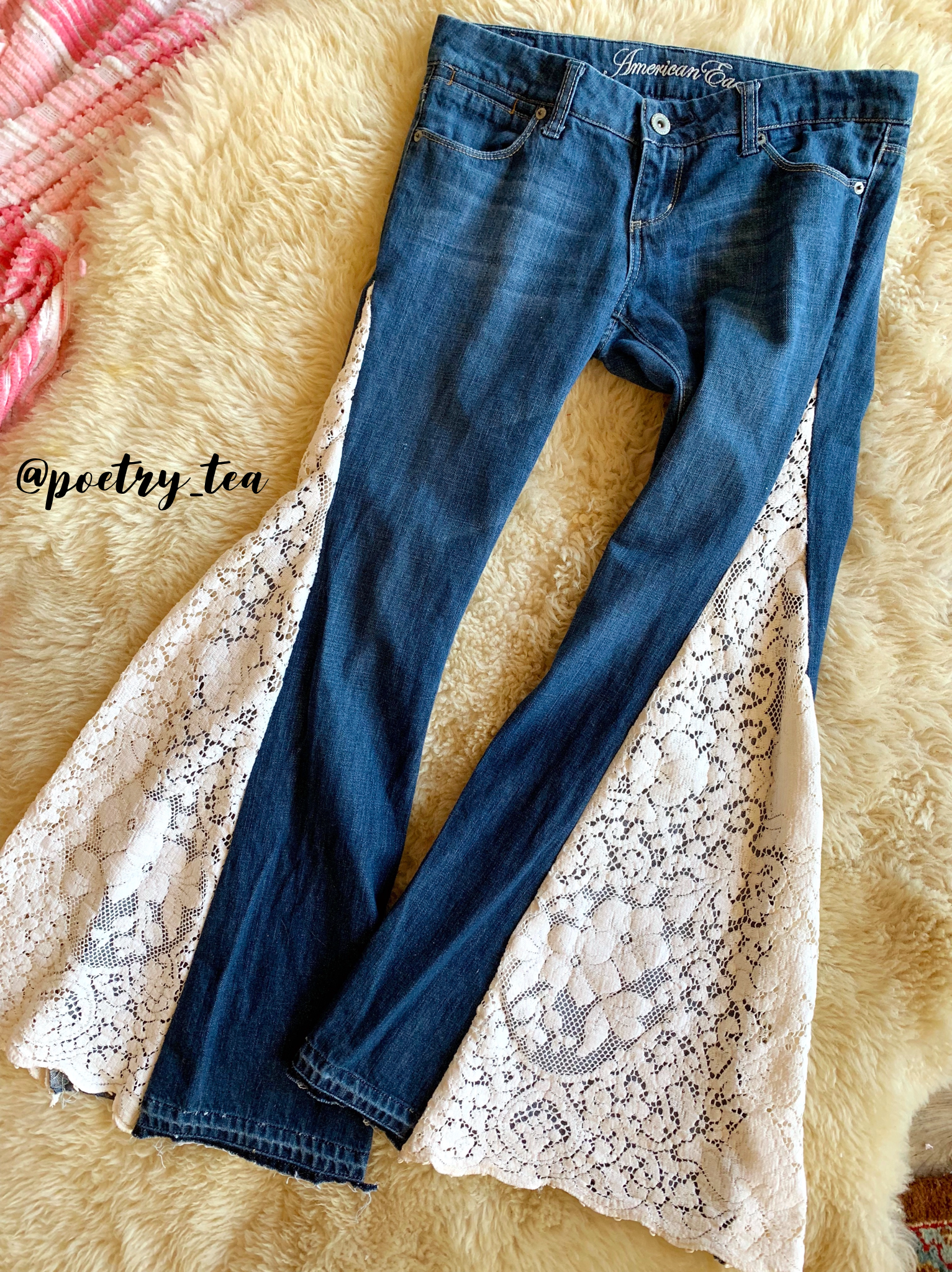 upcycled lace bell bottom jeans diy