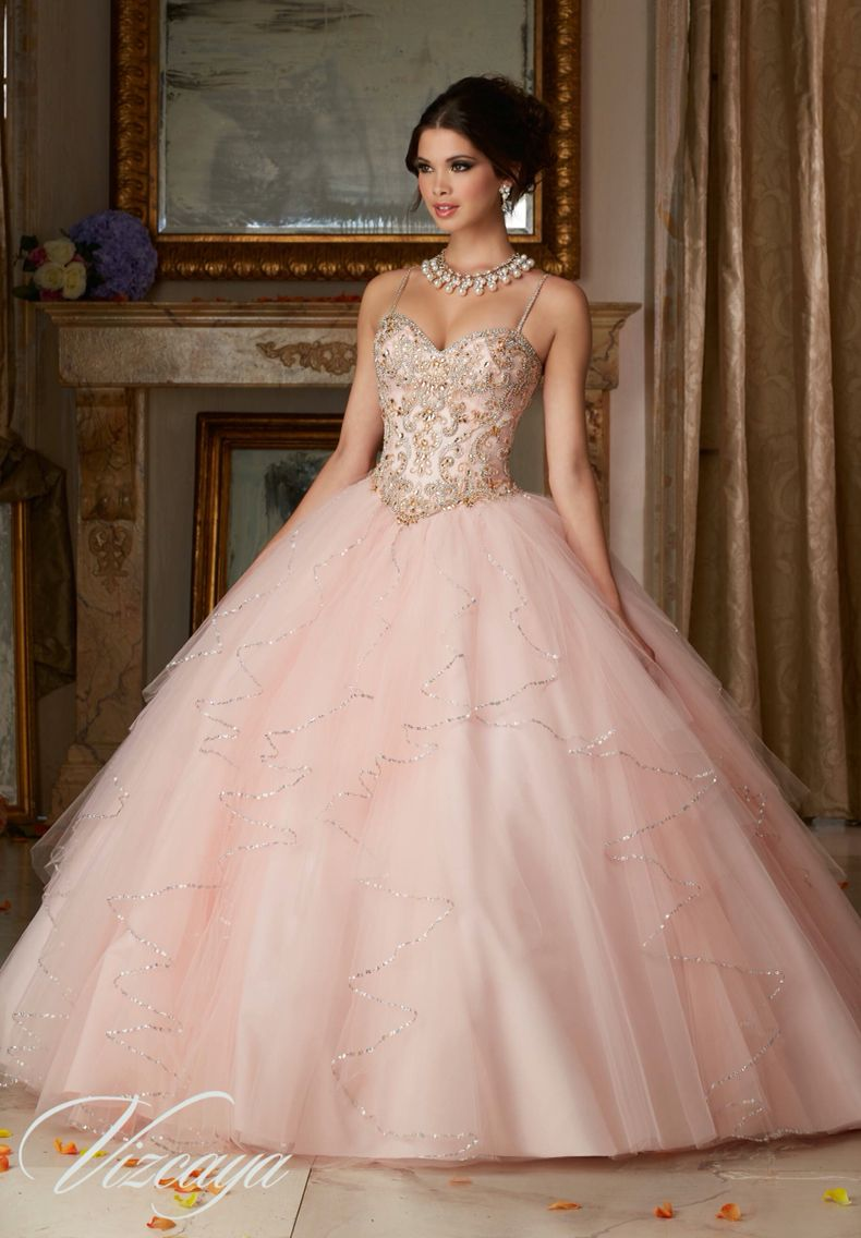 1580b961765 Morilee Vizcaya Quinceanera Dress 89101 JEWELED BEADING ON A FLOUNCED TULLE BALL  GOWN Matching Bolero Jacket. Available in Aqua Gold