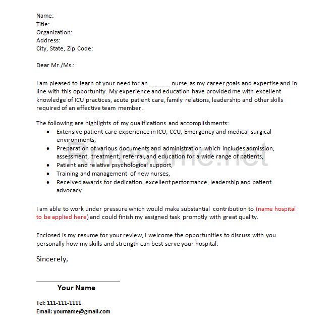 How RN Cover Letter Should Look Likernresumenetcheck – Sample Rn Cover Letter