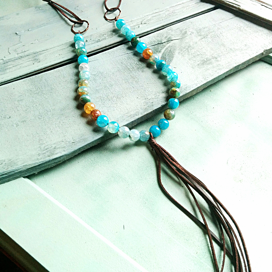 Light Blue Dragon's Vein Beaded Necklace with Leather Fringe 232a