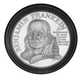 1992 Ben Franklin Firefighters Silver Medal  This Silver Medal was minted in commemoration of Benjamin Franklins contributions to the American Fire Service. These coins were struck using the same planchets as the U.S. Silver Eagles. Each medal that was originally sold contributed $15 to benefit the Benjamin Franklin Memorial at the Franklin Institute in Philadelphia, as well as selected American Fire Services.