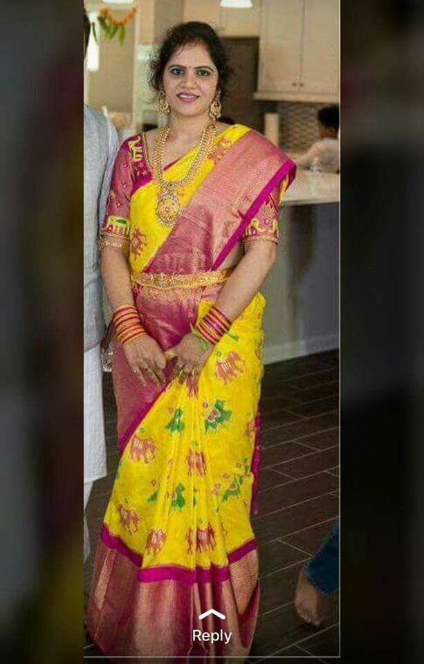 5495e4951ed5b9 Yellow Pink and Multi color Pure Silk Ikkat double threat weaving saree