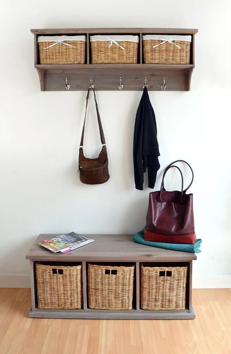 Beau Acacia Bench With Wicker Baskets