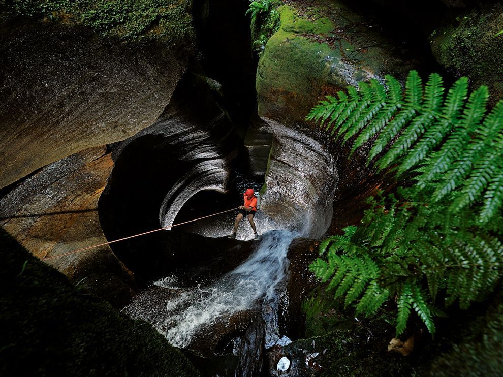 The descent into a cave in Australia. (National Geographic Magazine Features)