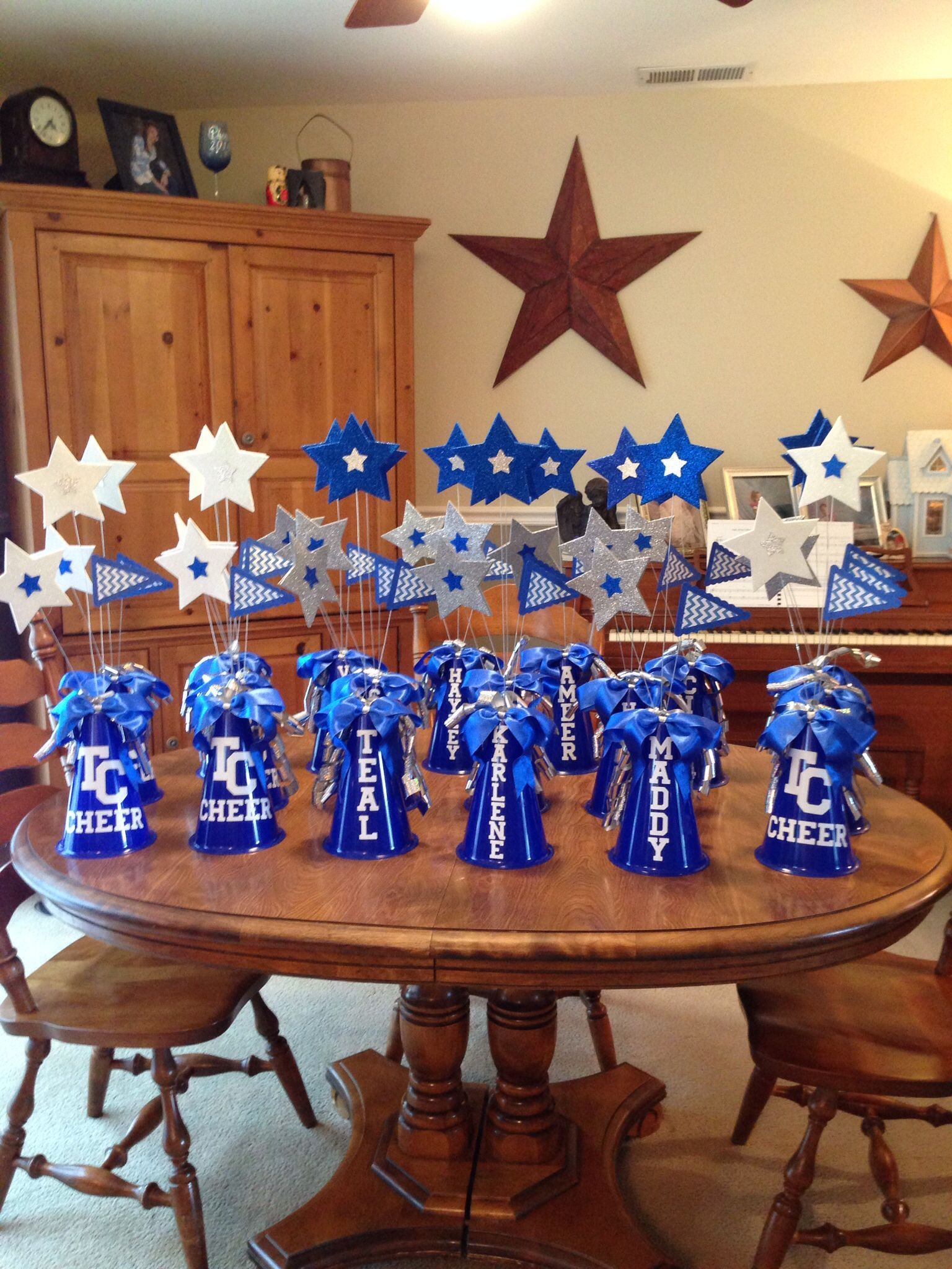 Centerpieces for tchs titan cheer banquet projects