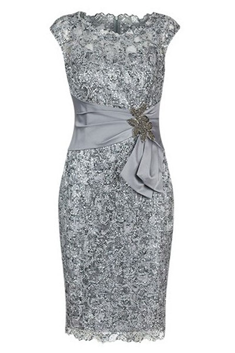 a4079d950e Bodycon Bateau Cap Sleeves Light Grey Lace Mother of The Bride Dress ...