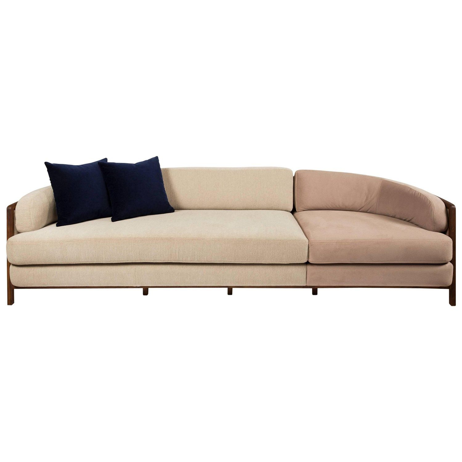 Vago Sofa In Walnut Hardwood With Wicker Back Contemporary Design
