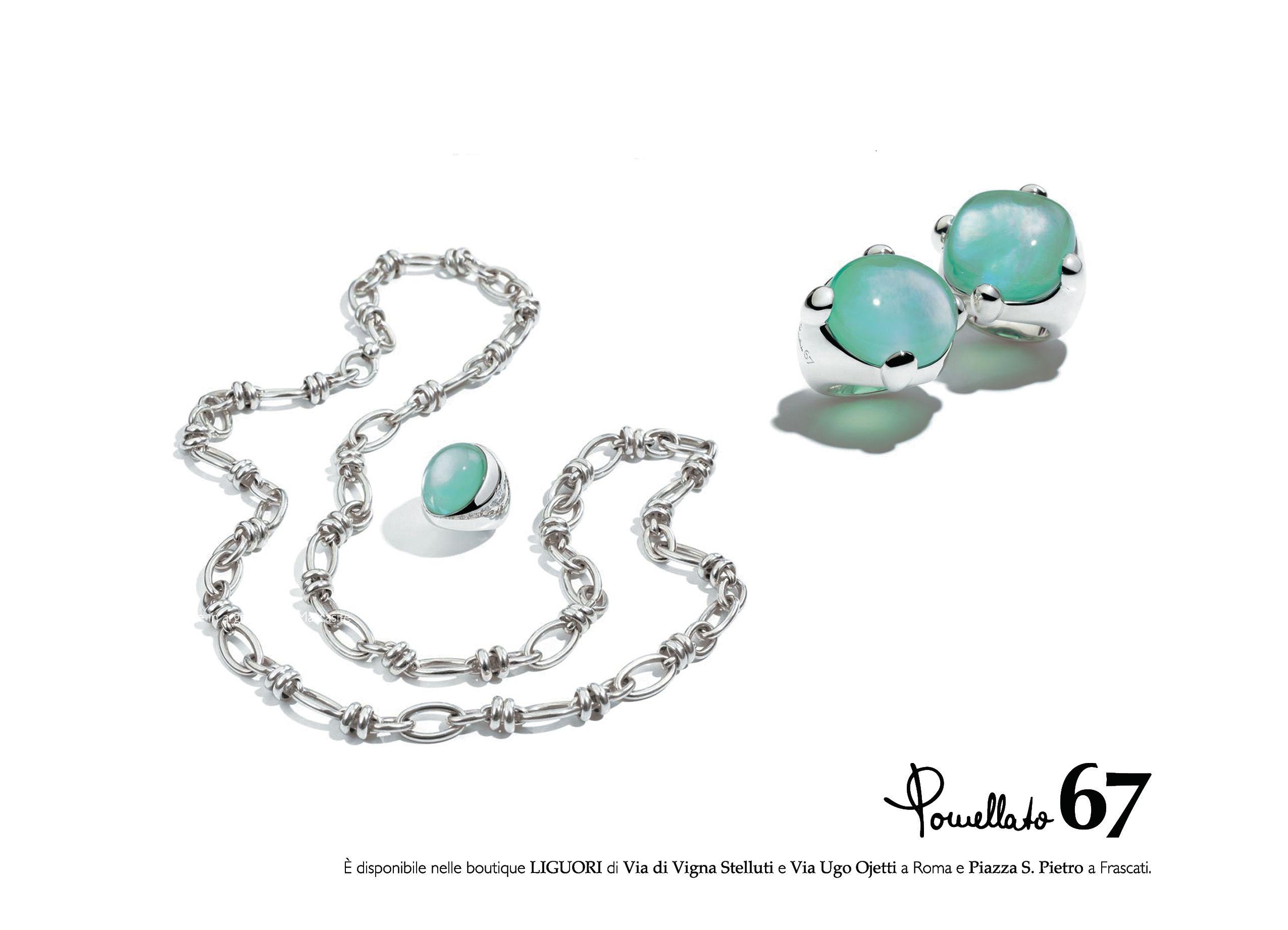 Pomellato67, Liguori DEJAVU, catalogo 2013/2014 Catena e anelli in argento con quarzo sintetico idrotermale, madreperla e agata tinta verde. www.liguorigioielli.it