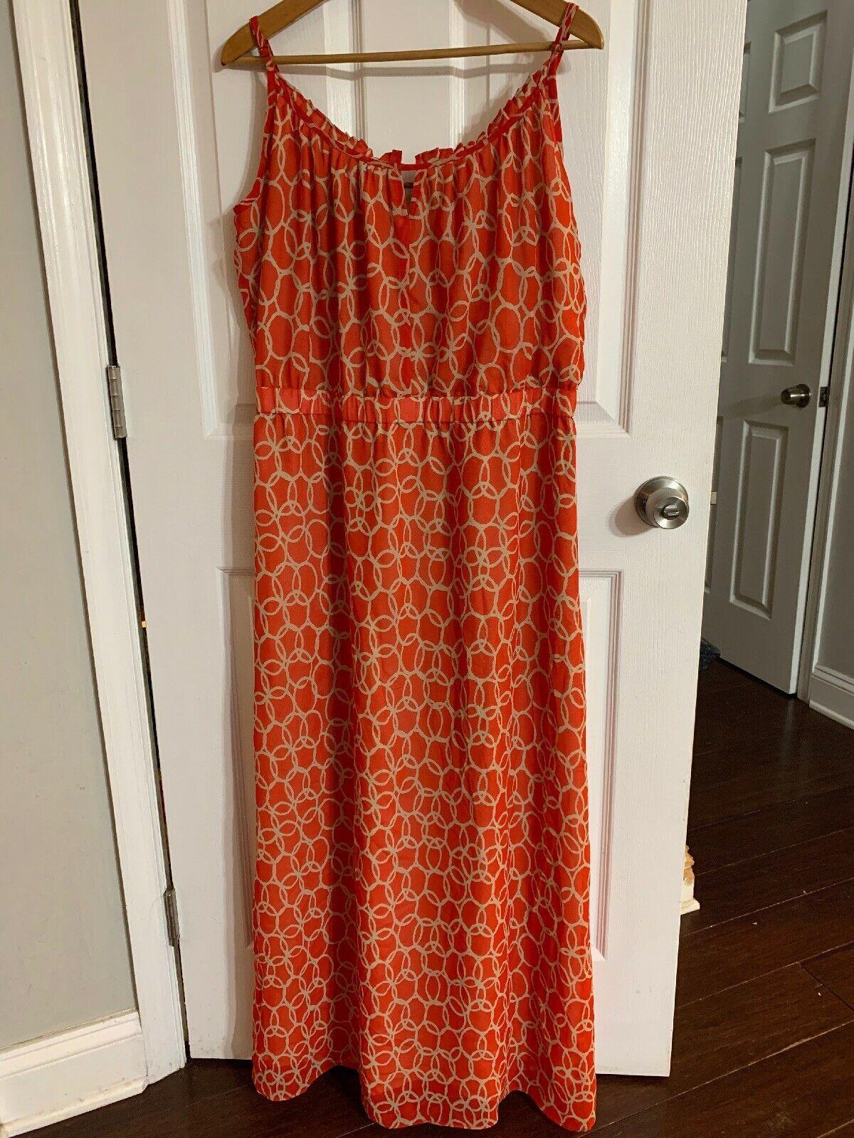 Banana Republic Womens Maxi Dress Size 14 Coral Orange Tan Chain Sleeveless Dress Honey Womens Maxi Dresses Sleeveless Orange Dress [ 1600 x 1200 Pixel ]