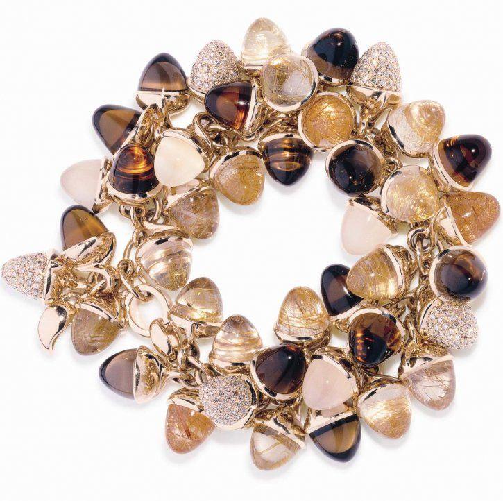 XL Flamenco bracelet rutil quartz Citrine and white moonstones