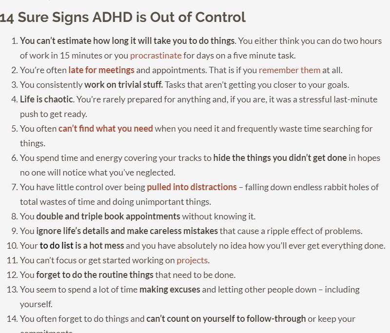 14 Signs Your Adhd Is Out Of Control Dana Rayburn Adhd Awareness