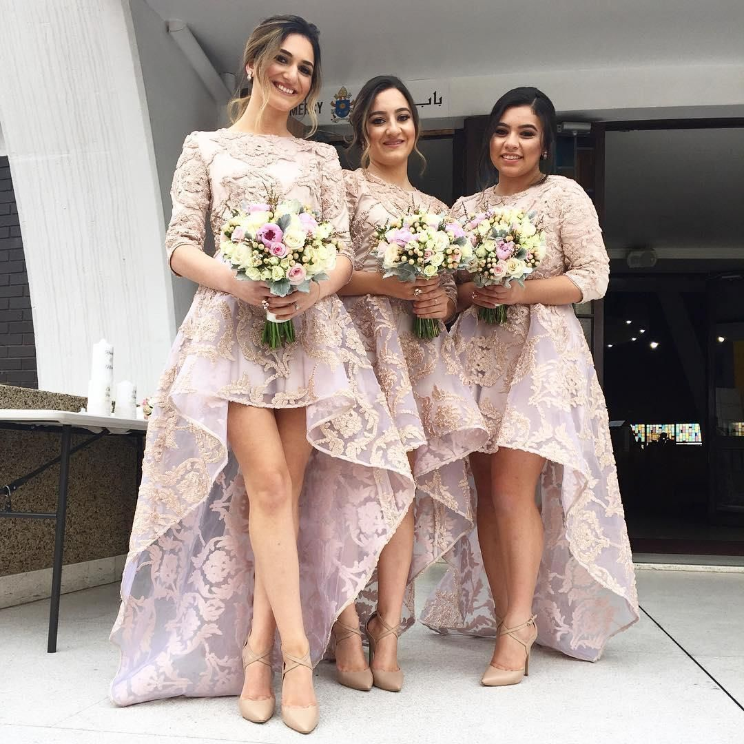 Cheap high low 2016 bridesmaid dresses long jewel neck half cheap high low 2016 bridesmaid dresses long jewel neck half sleeves bridesmaids girls dress for weddings lace applique bridesmaid formal gowns as low as ombrellifo Choice Image