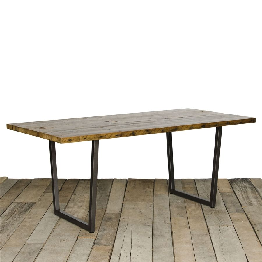 Brooklyn Reclaimed Wood Dining Table With Custom Dimensions That Having A  Salvaged Wood Top And Urban Design Steel Leg Base. Custom Furniture For  Dining ...