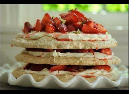 Pistachio Meringue Stack with Rose Cream and Strawberries