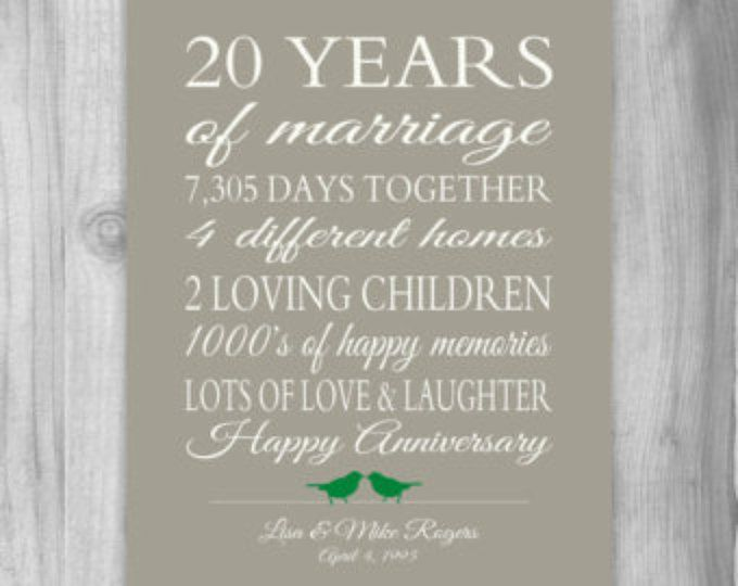 20 Year Anniversary Gift Wedding Anniversary Gift Print Gift Etsy In 2020 20th Anniversary Gifts Anniversary Gifts For Parents 20 Year Anniversary Gifts